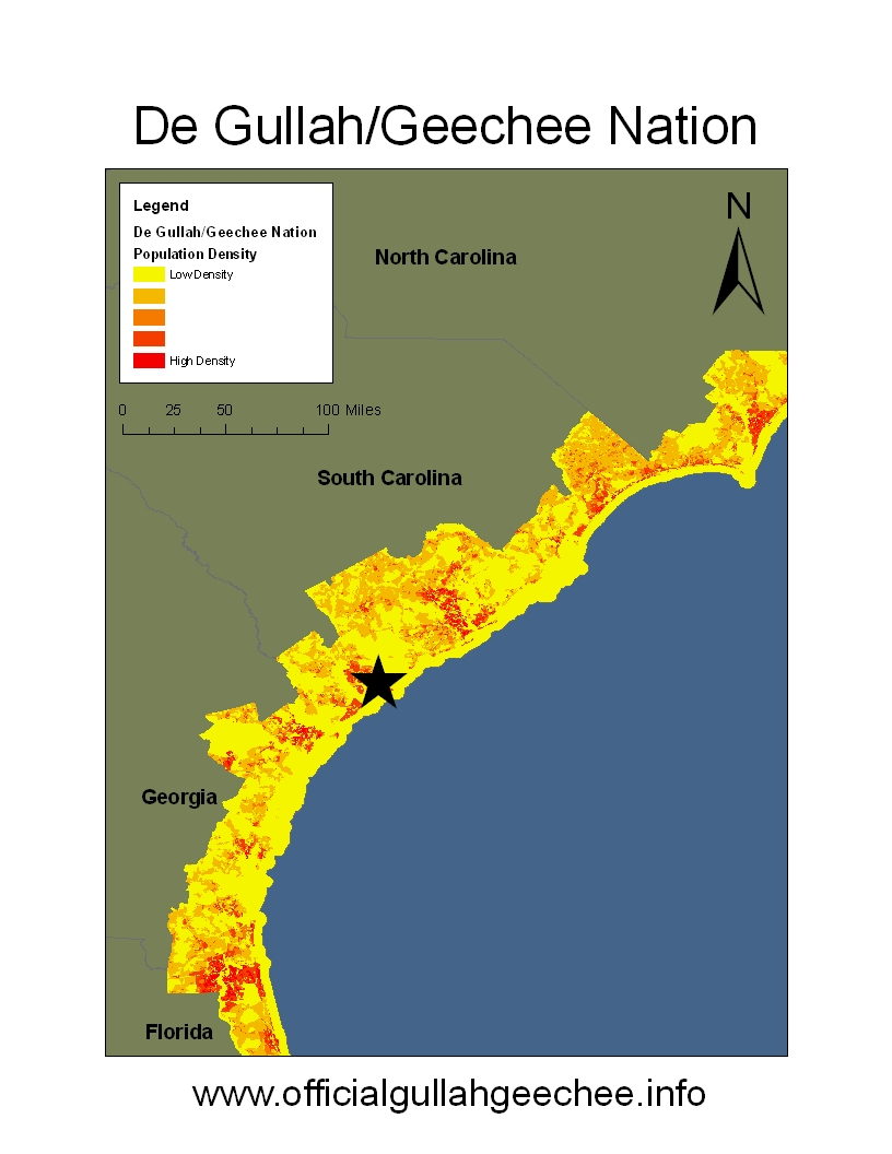 Map of the Gullah-Geechee Nation, from Jacksonville NC to JacksonvilleFL