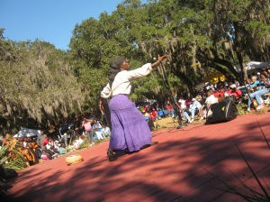 "Queen Quet, Chieftess of the Gullah/Geechee Nation presents ""Pun de Plantation"" at the 30th Annual Heritage Days Celebration at Penn Center, Inc. on historic St. Helena Island, SC in the Gullah/Geechee Nation."