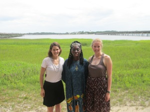 Road Trippers and Writers, Kirsten & Allie with Queen Quet along the Gullah/Geechee shoreline during their journey to St. Helena and Hunting Islands, SC in the Gullah/Geechee Nation.