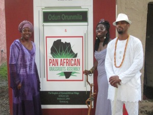 Alase Oba Adefunmi Adejuyigbe welcomes Queen Quet and Elder Carlie Towne to Oyotunji African Village for the Pan African Grassroots Assembly.
