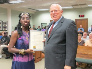 "Queen Quet, Chieftess of the Gullah/Geechee Nation receives ""Gullah/Geechee Nation Appreciation Week"" proclamation from Beaufort County Council Chairman Steward Rodman."