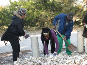 Bagging Oyster Shells at the Coastal Cultures Conference