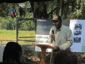 Bill Saunders speaks on the history of the Progressive Club at the historic marker dedication on September 8, 2013 on Johns Island, SC in the Gullah/Geechee Nation.