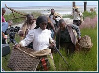 """Queen Quet, Chieftess of the Gullah/Geechee Nation consulted for """"Reconstruction: The Second Civil War"""" and sang for the score. She is one of the re-enactors in several scenes as depicted here in the Tunis Campbell settlement scene shot on the Georgia coast of the Gullah/Geechee Nation (www.gullahgeecheenation.com)."""