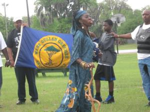 Queen Quet, Chieftess of the Gullah/Geechee Nation Libation at Perry Park in Brunswick, GA