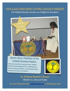 Queen Quet at Library March 2014