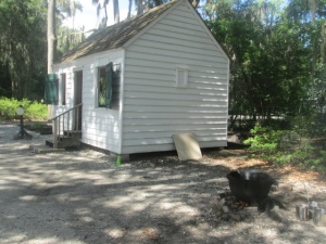 Gullah/Geechee enslavement cabin at Heyward House Historic Center in Bluffton, SC