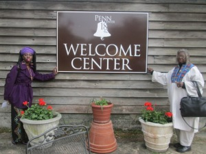 Queen Quet, Chieftess of the Gullah/Geechee Nation (www.QueenQuet.com) and Carolee Holme Brown of St. Helena Island at the Courtney P. Siceloff Welcome Center at Penn Center, Inc.  www.penncenter.com