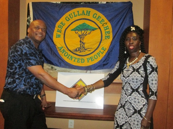 PAFEN International Co-Chair of the Advisory Board Queen Quet, Chieftess of the Gullah/Geechee Nation; and First Vice Chair Stephen McHayle of Jamaica at the PAFEN office united to save land for the African family.