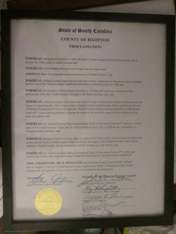 Hampton County Gullah/Geechee Nation Appreciation Week Proclamation