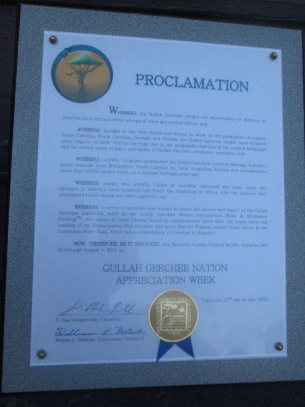 Gullah/Geechee Nation Appreciation Week Beaufort, SC Proclamation