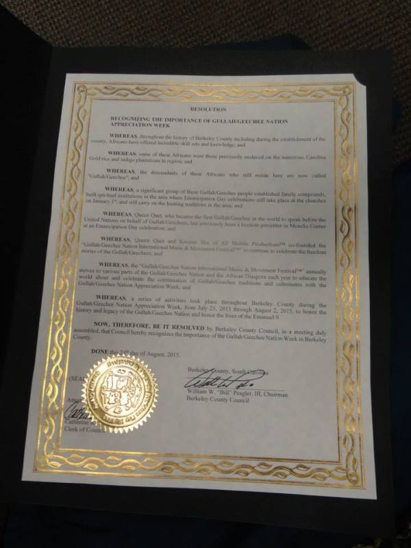 Berkeley County Gullah/Geechee Nation Appreciation Week Proclamation