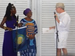 """Queen Quet, Chieftess and Elder Carlie Towne, Minister of Information for the Gullah/Geechee Nation with Mayor Tecklenberg of Charleston, SC as he presents the """"Gullah/Geechee Nation Appreciation Week Proclamation"""" during the """"Gullah/Geechee Nation International Music & Movement Festival.""""  www.gullahgeechee.info"""