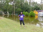 Queen Quet, Chieftess of the Gullah/Geechee Nation (www.QueenQuet.com) stands proudly at her family compound giving thanks as the waters of Hurricane Matthew slowly recede from the land.  Tenk GAWD fa de blessed Gullah/Geechee land!