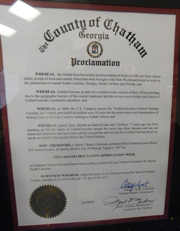 Chatham County Gullah/Geechee Nation Appreciation Proclamation