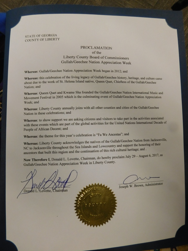 Liberty County Gullah/Geechee Nation Appreciation Proclamation