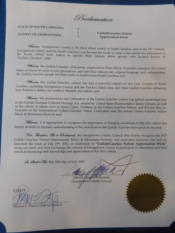 Georgetown County Gullah/Geechee Nation Appreciation Week Proclamation