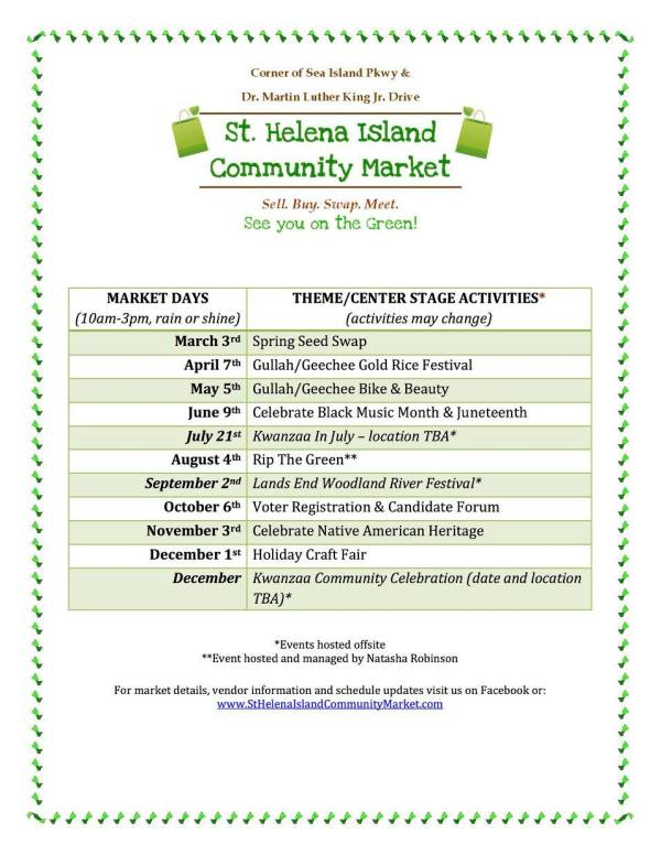 St. Helena Island Community Market Schedule 2018