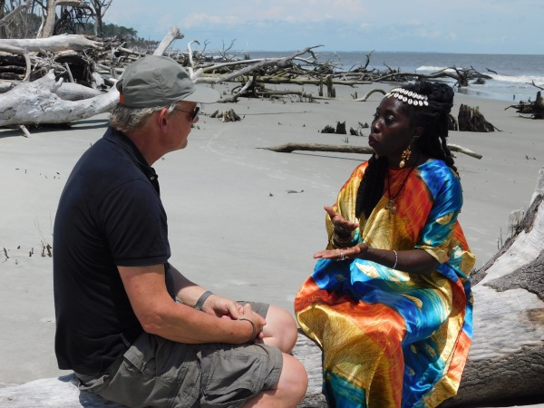 "British TV star, Martin Clune chats with Queen Quet, Chieftess of the Gullah/Geechee Nation on the shores of the Atlantic Ocean for his program, ""Islands of America."""